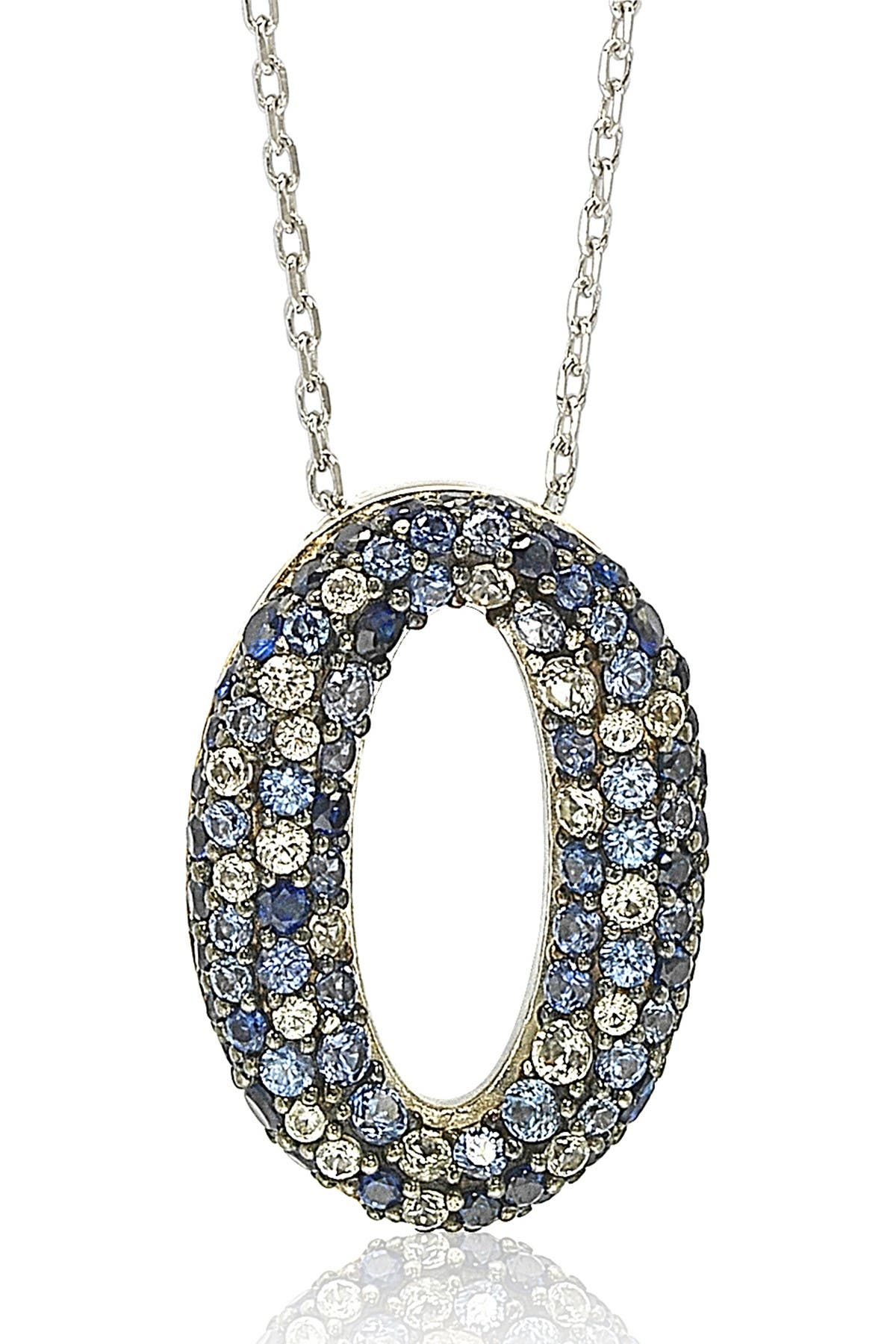 Image of Suzy Levian Sterling Silver Sapphire Diamond Accent Oval Pendant Necklace - 0.02 ctw