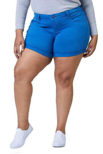 Image of SLINK JEANS High-Rise Cuffed Hem Shorts