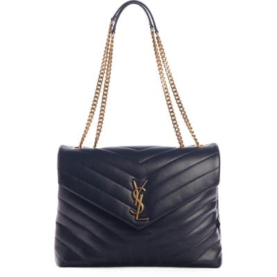 Saint Laurent Medium Loulou Matelasse Leather Shoulder Bag - Blue
