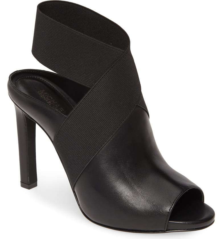 MICHAEL MICHAEL KORS Ames Open Toe Bootie, Main, color, BLACK LEATHER MULTI