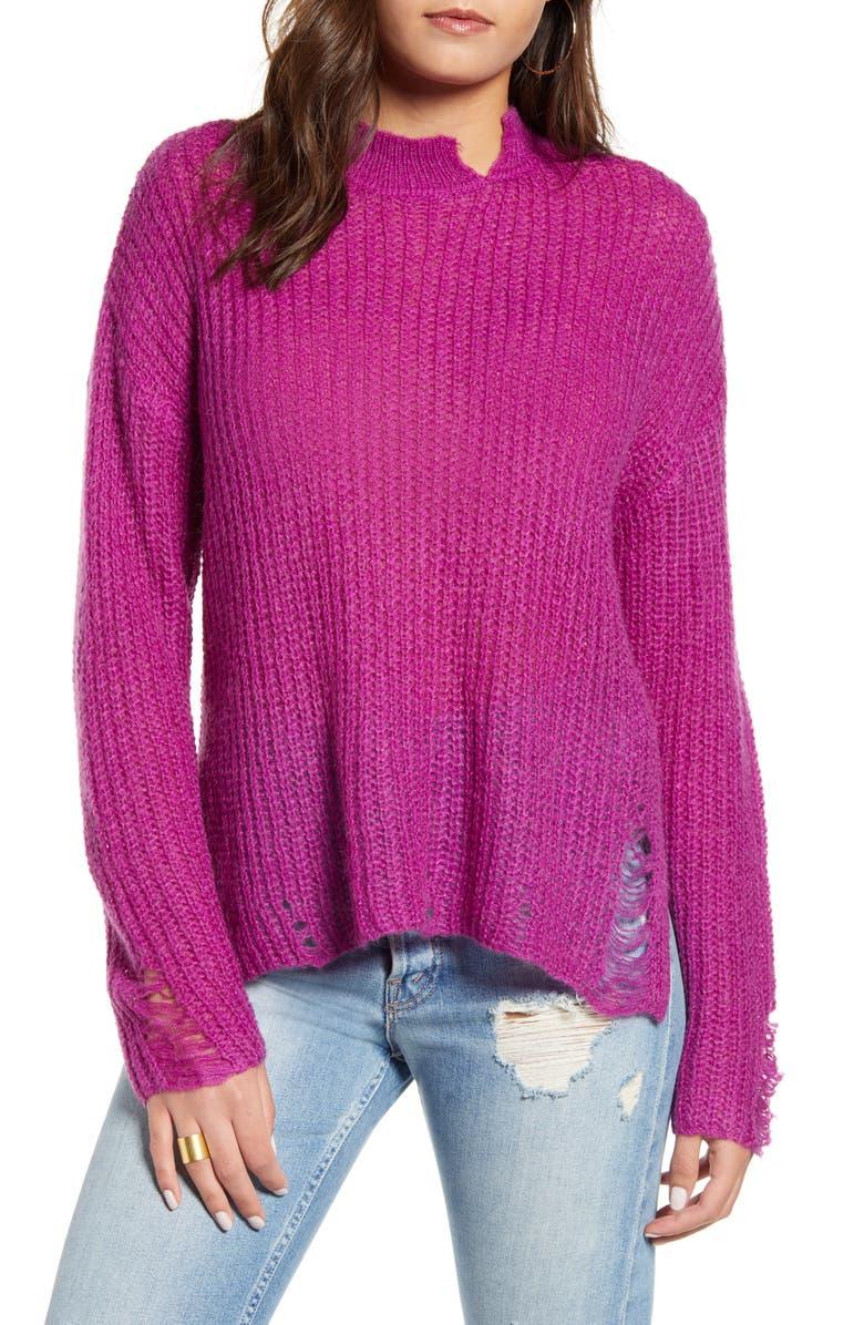 J.O.A. Mock Neck Open Stitch Sweater, Main, color, PLUM