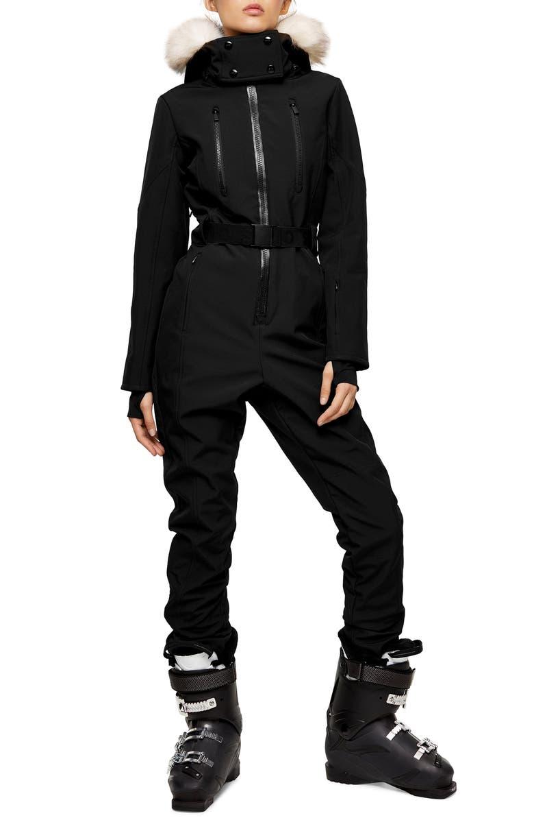 TOPSHOP SNO Water Repellent Jumpsuit with Faux Fur Trim, Main, color, BLACK
