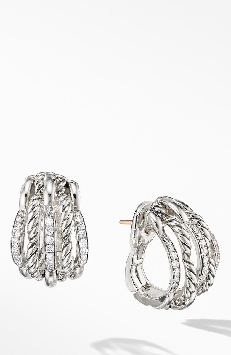DAVID YURMAN Tides Shrimp Earrings with Diamonds, Main, color, SILVER/ DIAMOND