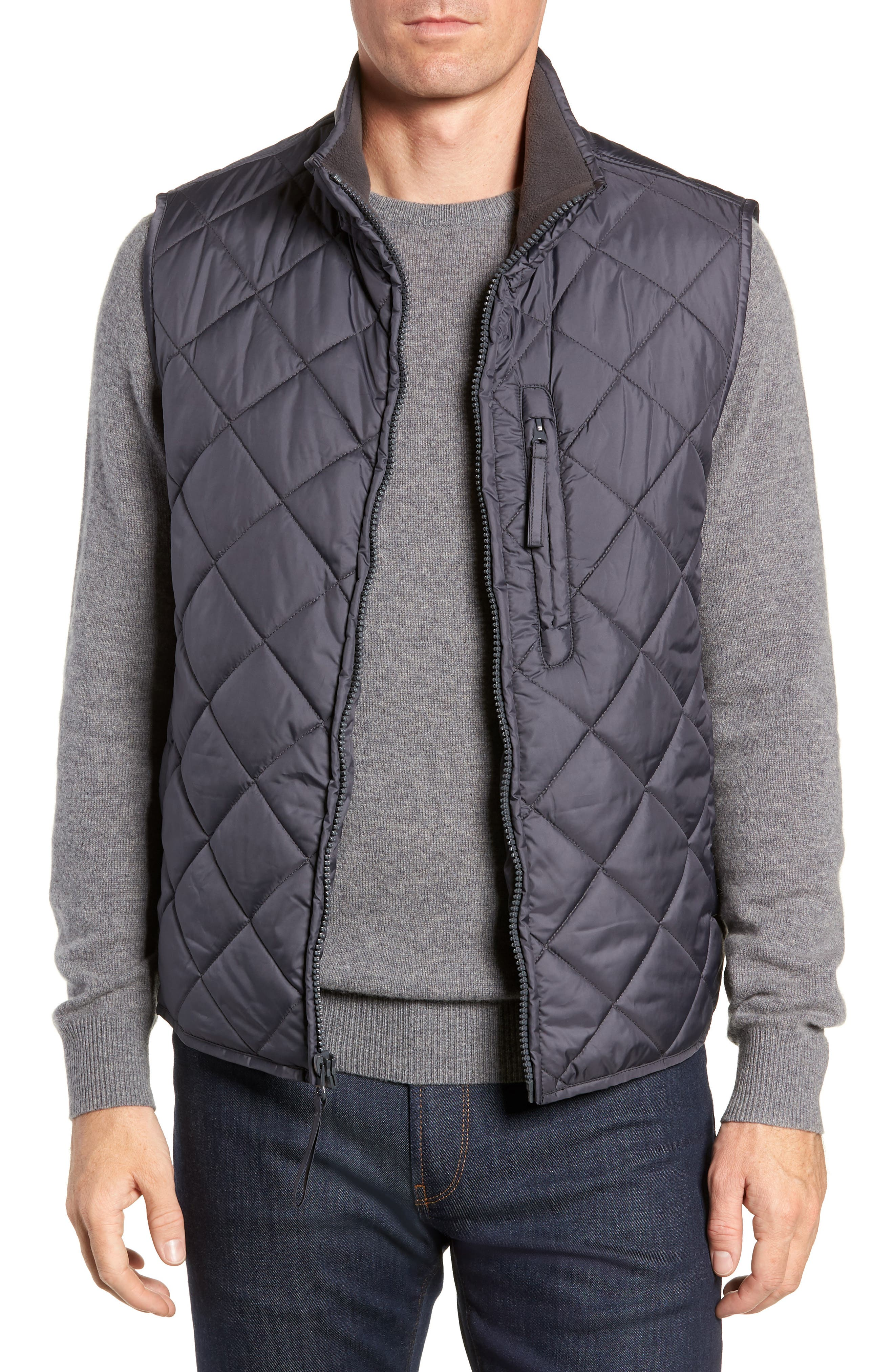 Marc New York Chester Packable Quilted Vest, Grey