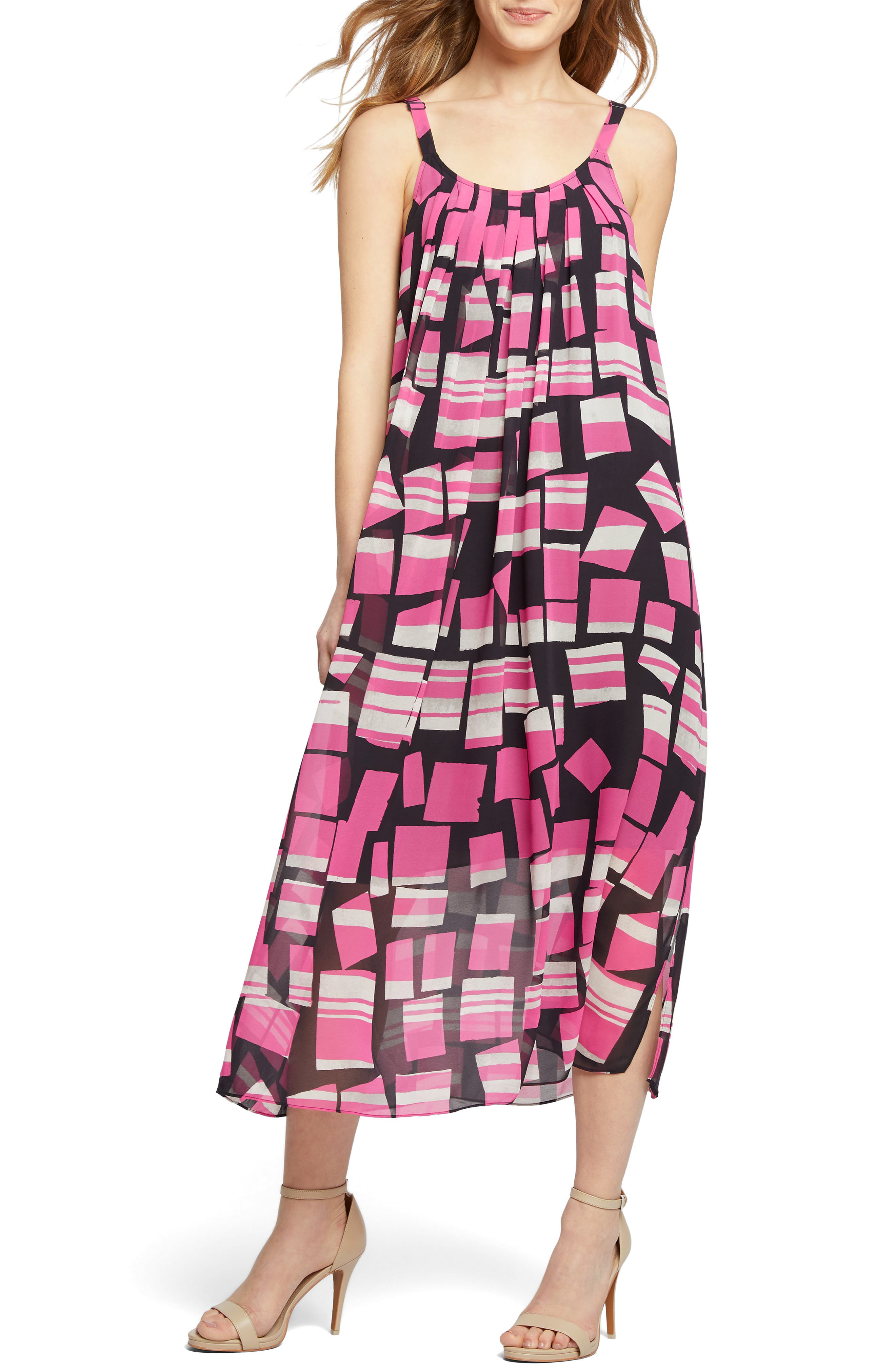 Petite Nic+Zoe Block Party Print Pleat Shift Dress, Pink
