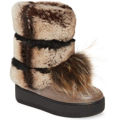 Sheridan Mia Tallulah Genuine Rabbit & Genuine Fox Fur Boot, Metallic