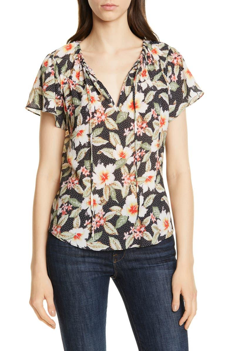 REBECCA TAYLOR Kamea Floral Stretch Silk Blouse, Main, color, BLACK COMBO