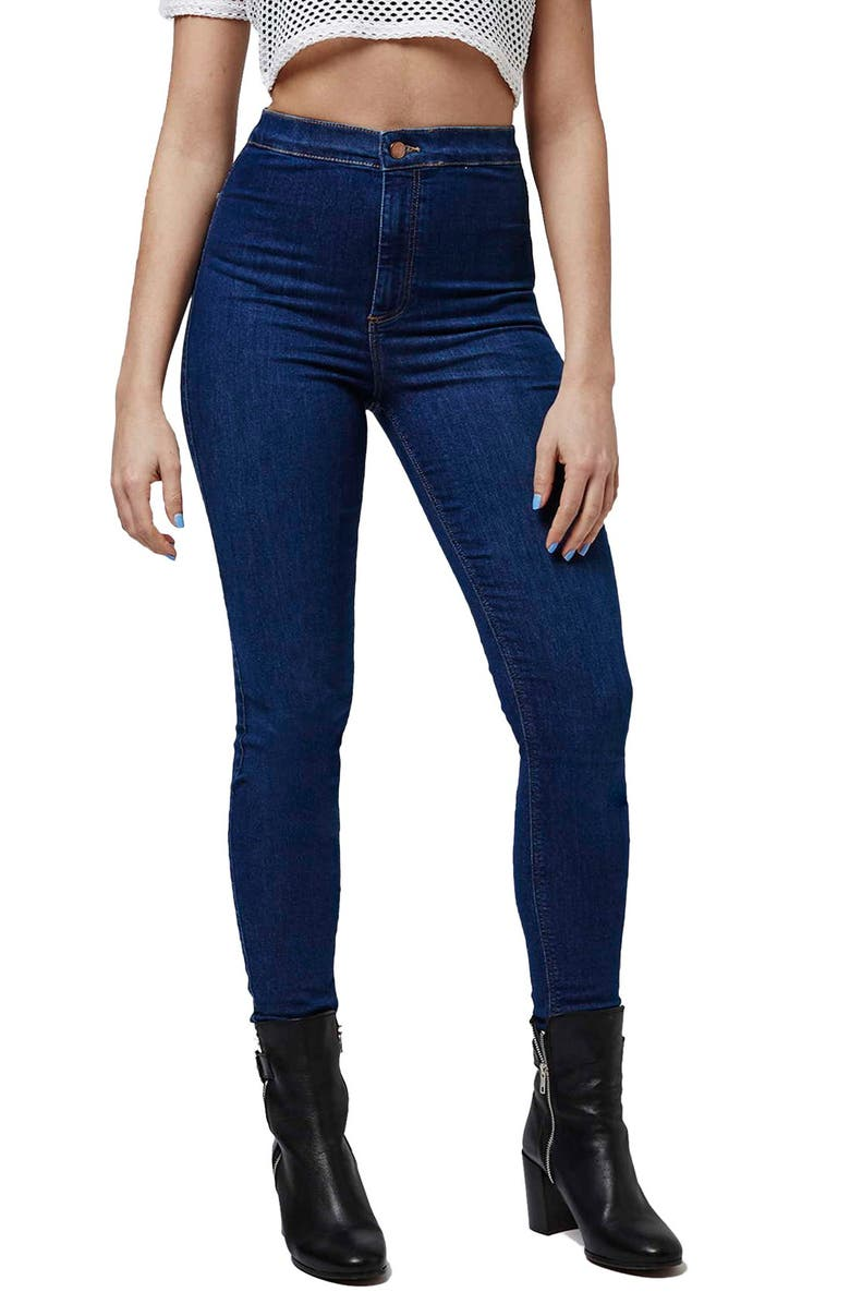 TOPSHOP 'Joni' Super High Waist Skinny Jeans, Main, color, 400