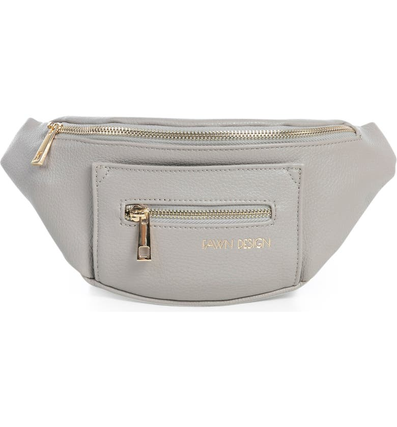 FAWN DESIGN The Fawny Faux Leather Belt Bag, Main, color, GREY