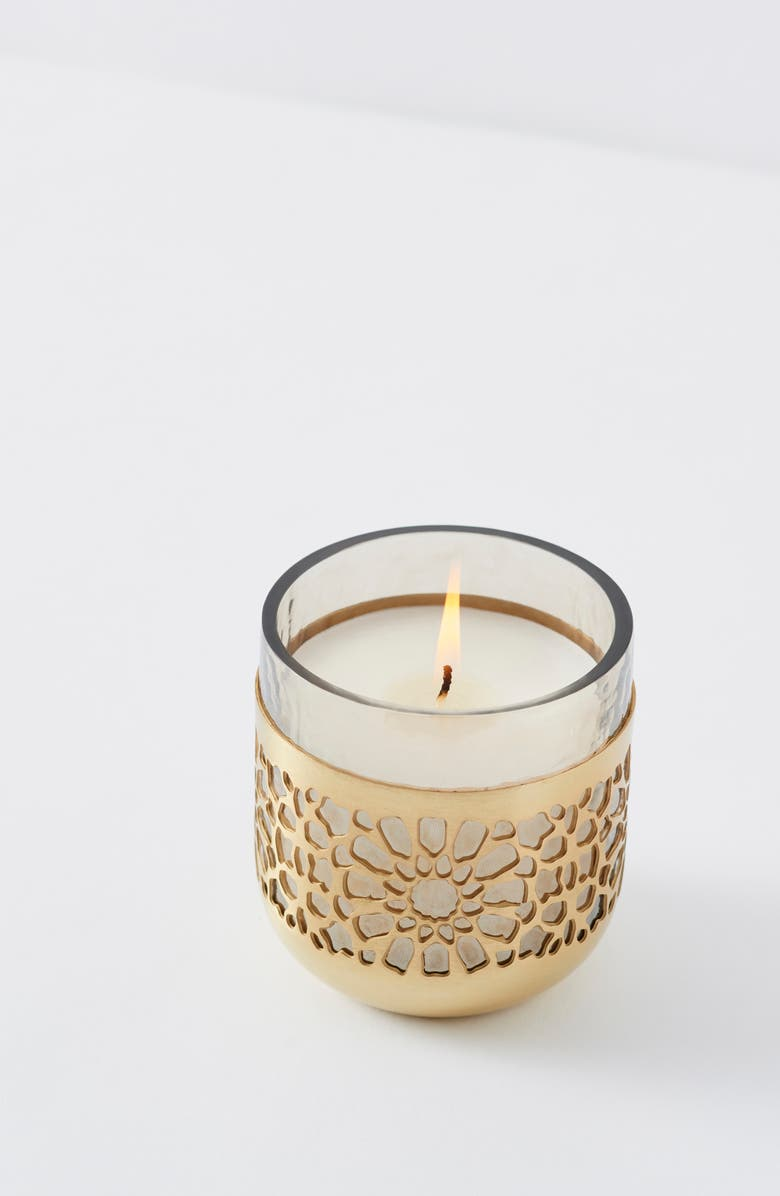 ANTHROPOLOGIE HOME Small Laser Cut Floral Candle, Main, color, GOLD