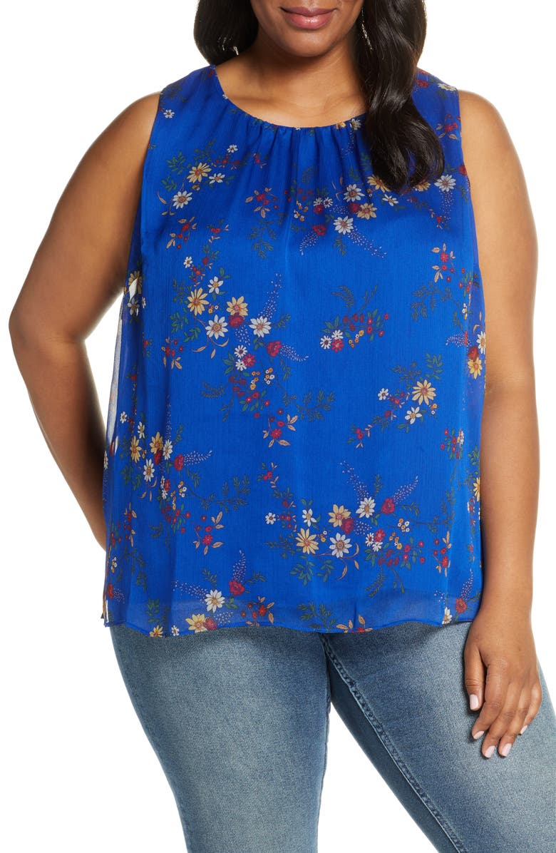 VINCE CAMUTO Country Bouquet Sleeveless Blouse, Main, color, ELECTRIC BLUE