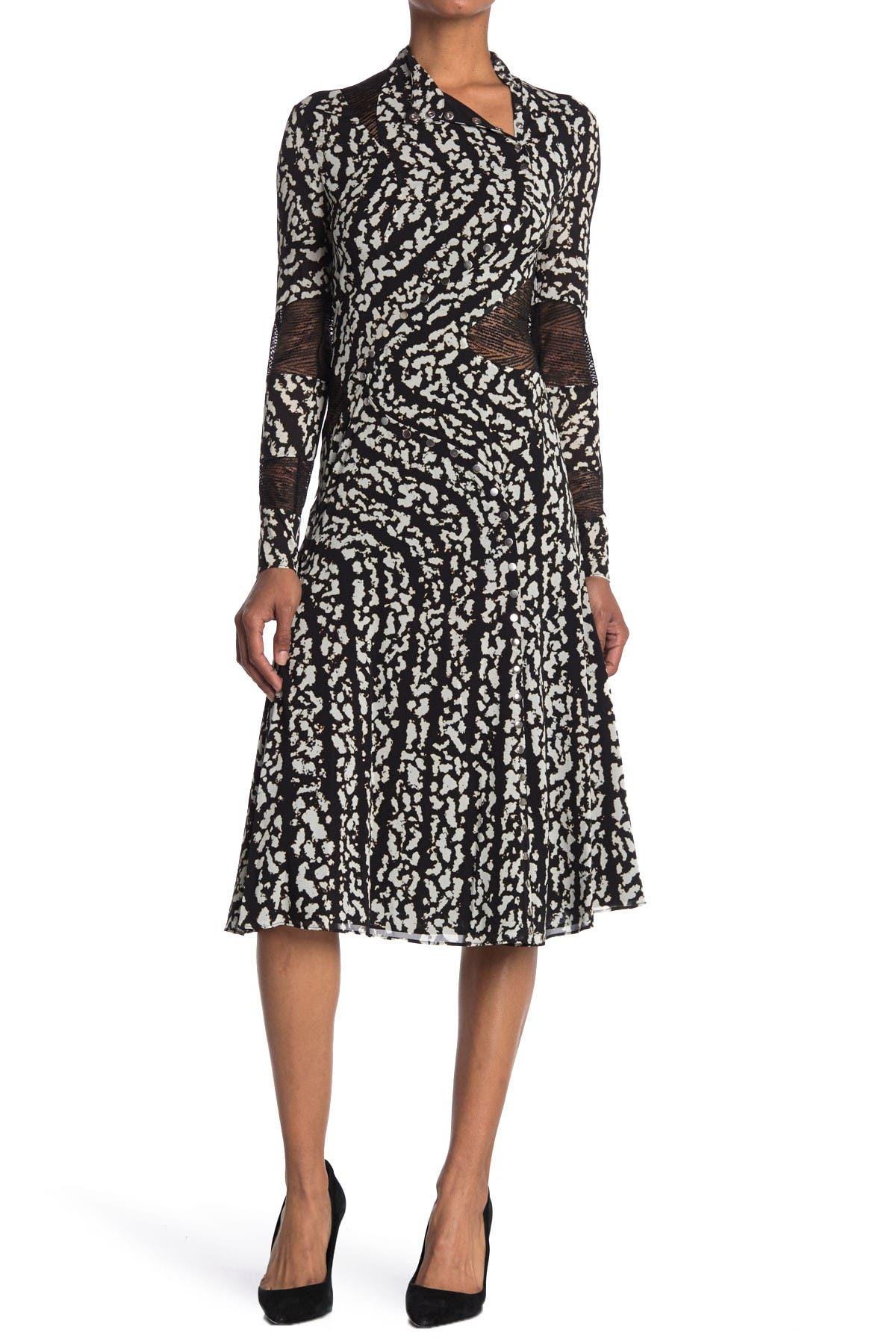 Image of Proenza Schouler Mock Neck Snap Front Silk Blend Midi Dress