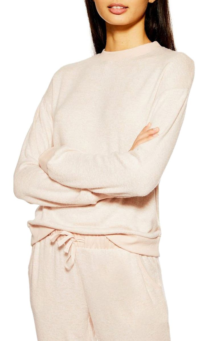 TOPSHOP Supersoft Sweatshirt, Main, color, BLUSH