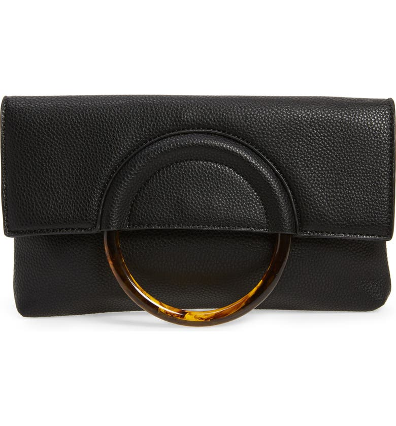 BP. Ring Handle Classic Clutch, Main, color, BLACK