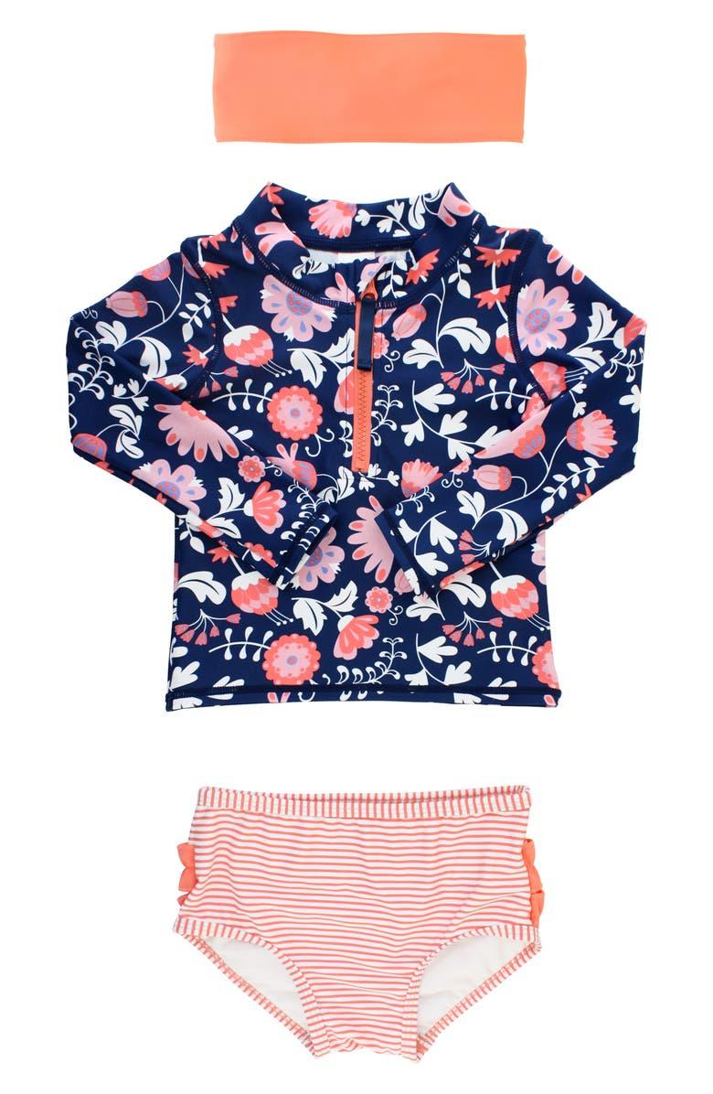 RUFFLEBUTTS Botanical Two-Piece Rashguard Swimsuit & Head Wrap Set, Main, color, NAVY