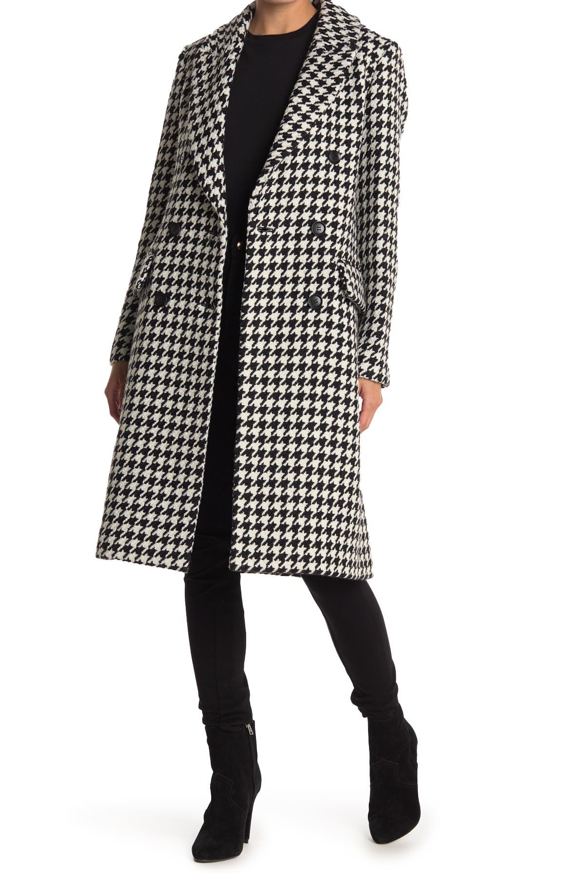 Image of BCBGMAXAZRIA Houndstooth Double Breasted Wool Blend Coat