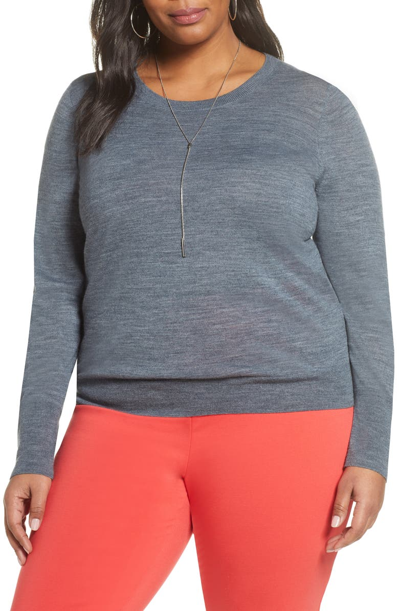 HALOGEN<SUP>®</SUP> Crewneck Merino Wool Blend Sweater, Main, color, GREY HEATHER