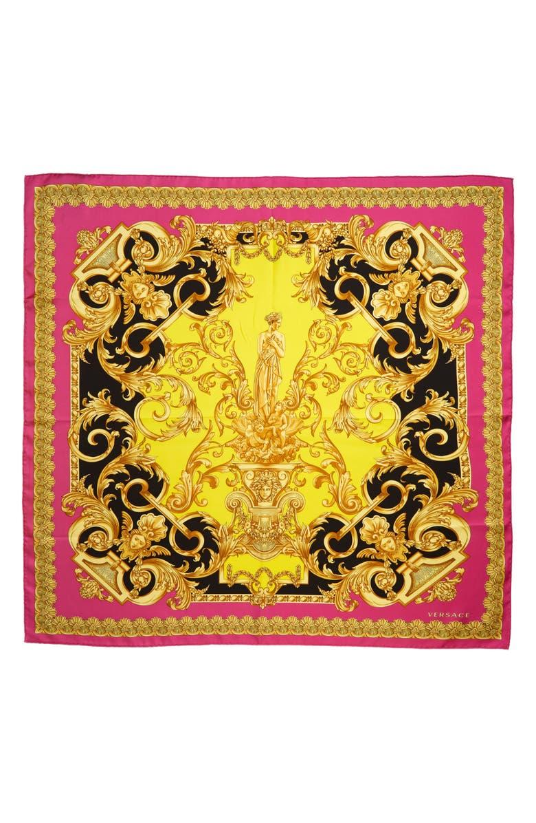 VERSACE FIRST LINE Barocco Silk Scarf, Main, color, FUXIA