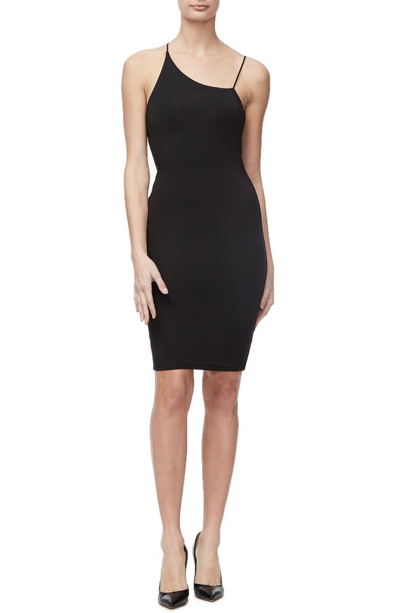 GOOD AMERICAN Spaghetti Strap Asymmetrical Body-Con Dress, Main, color, BLACK001