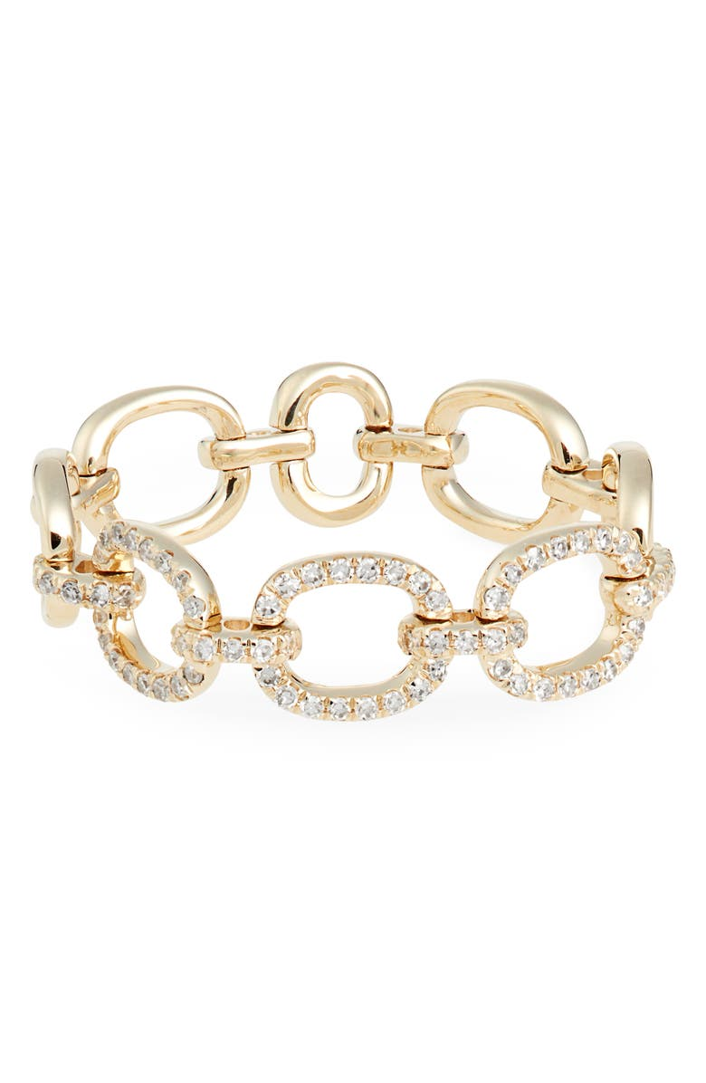 EF COLLECTION Flexible Chain Link Diamond Ring, Main, color, YELLOW GOLD