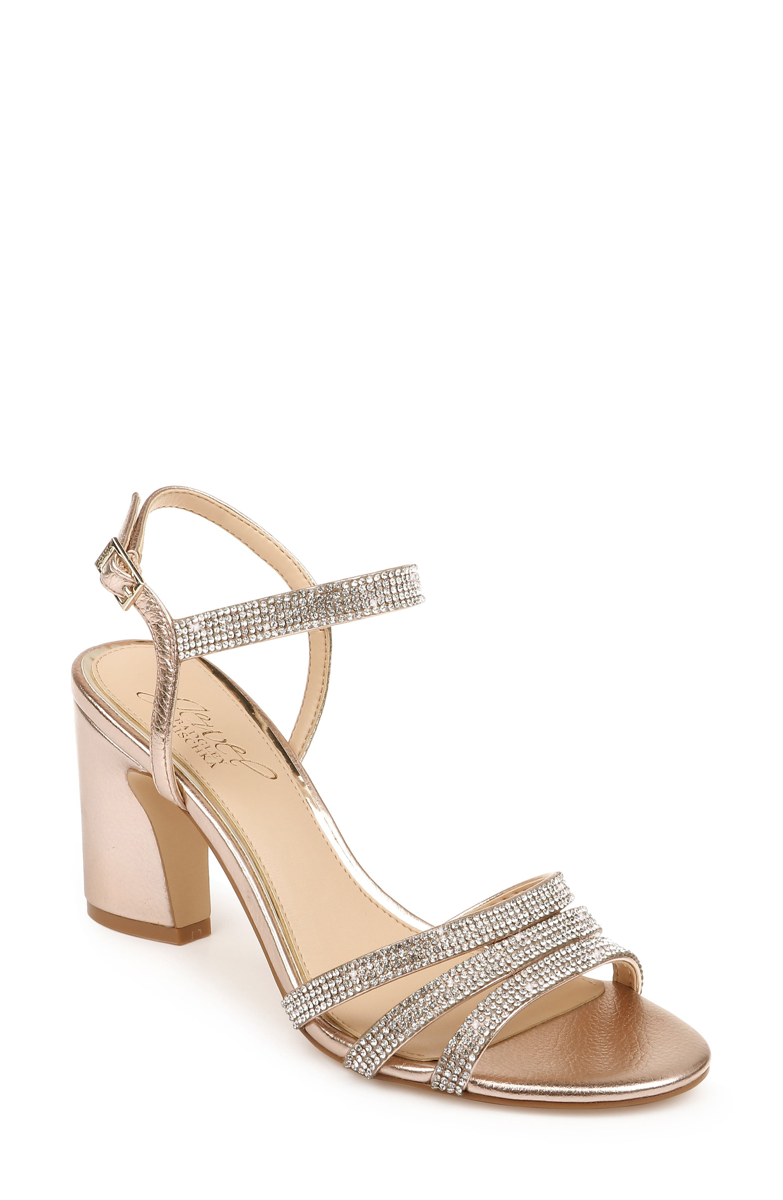 An architectural block heel brings throwback-inspired height to a strappy sandal embellished with sparkling crystals. Style Name: Jewel Badgley Mischka Brighton Sandal (Women). Style Number: 5913720. Available in stores.