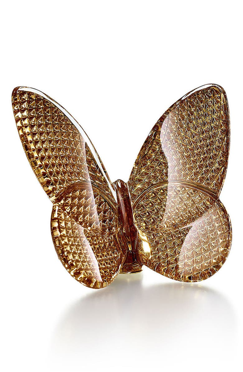 BACCARAT Lucky 20K Gold Diamond Cut Lead Crystal Butterfly, Main, color, GOLD DIAMANT