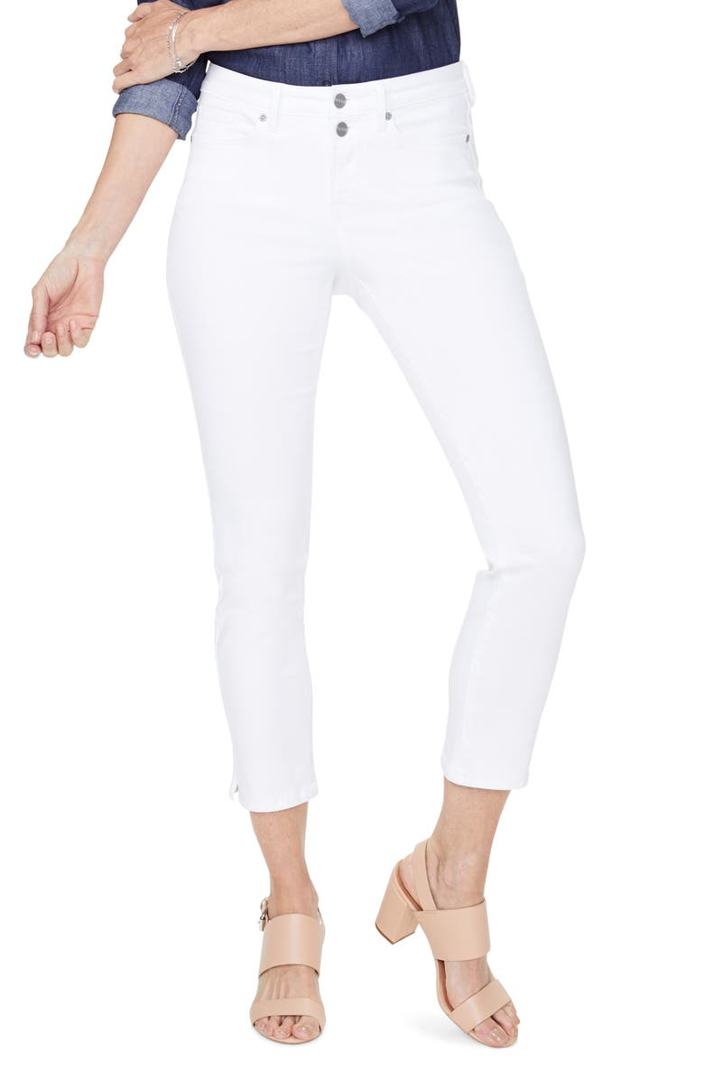 NYDJ Sheri Mock Fly Stretch Ankle Jeans, Main, color, OPTIC WHITE