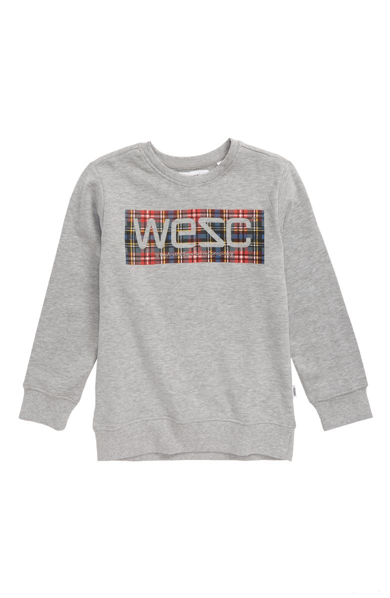 WESC Logo Sweatshirt, Main, color, HEATHER GREY