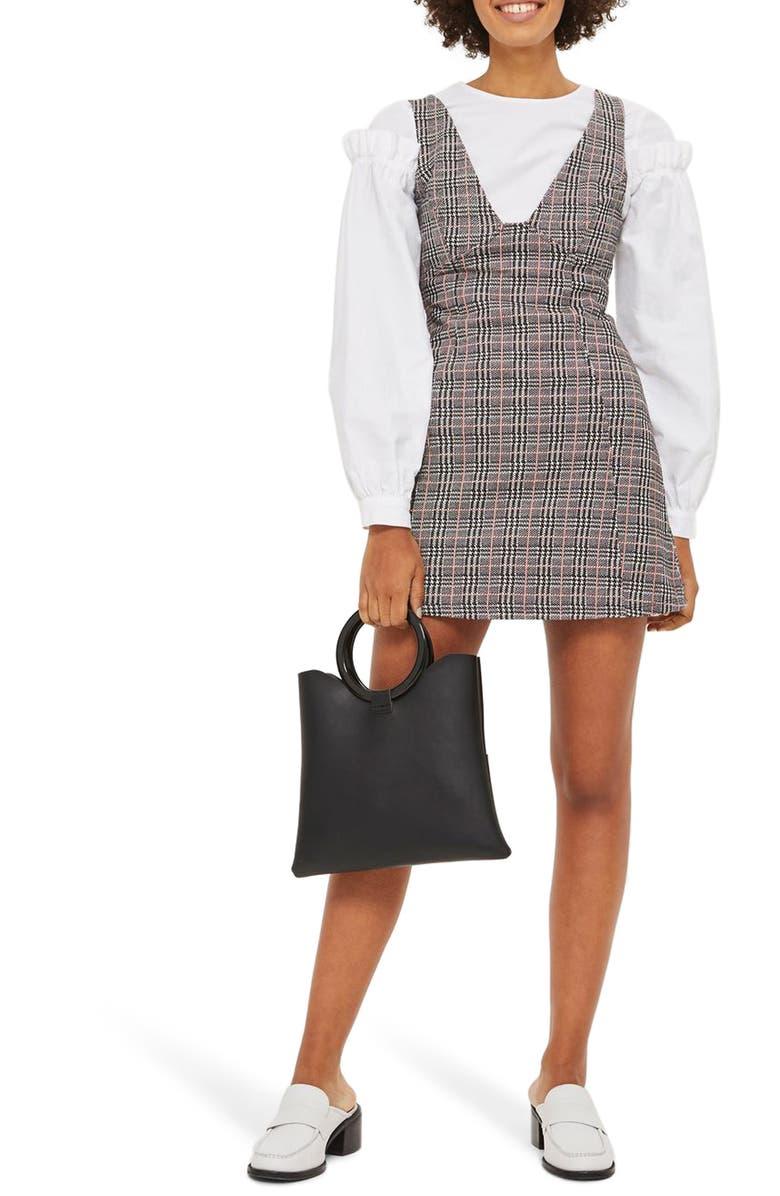 TOPSHOP Plaid A-Line Pinafore Dress, Main, color, 001