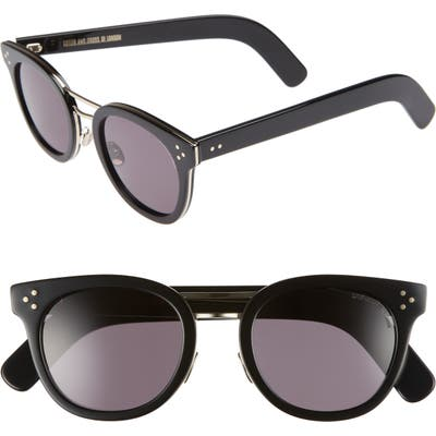 Cutler And Gross 52Mm Round Sunglasses - Black/ Gold Metal
