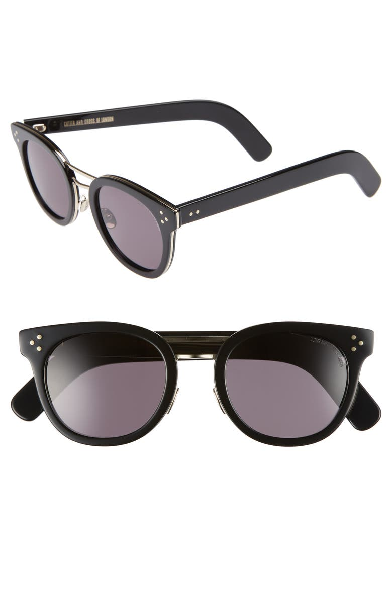 CUTLER AND GROSS 52mm Round Sunglasses, Main, color, BLACK/ GOLD METAL