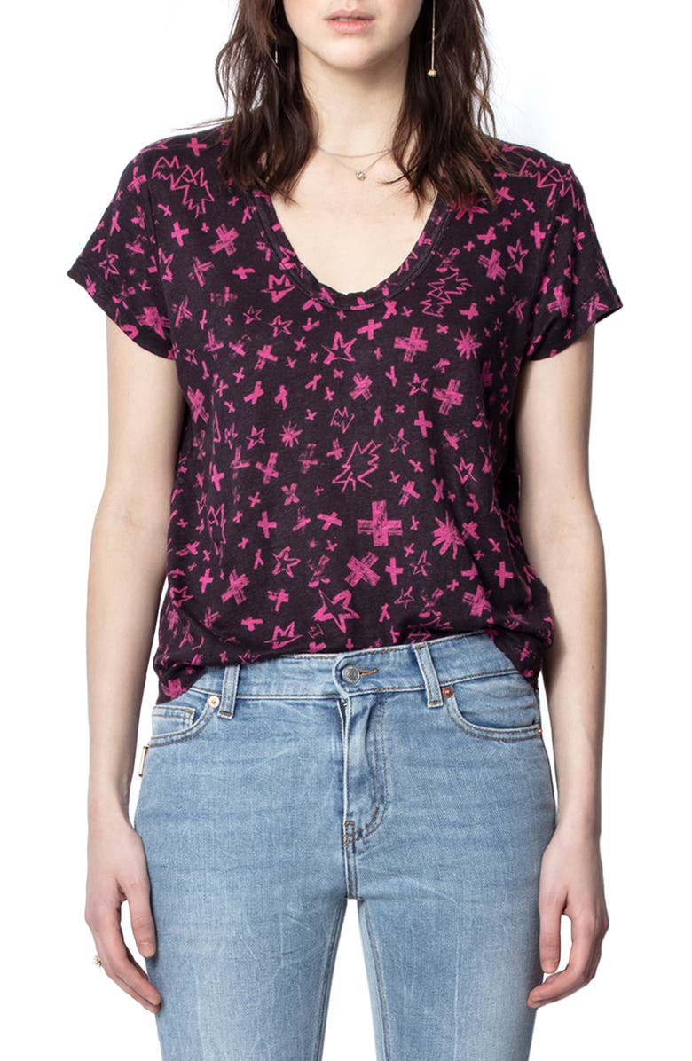 ZADIG & VOLTAIRE Aretha Print T-Shirt, Main, color, FRAMBOISE