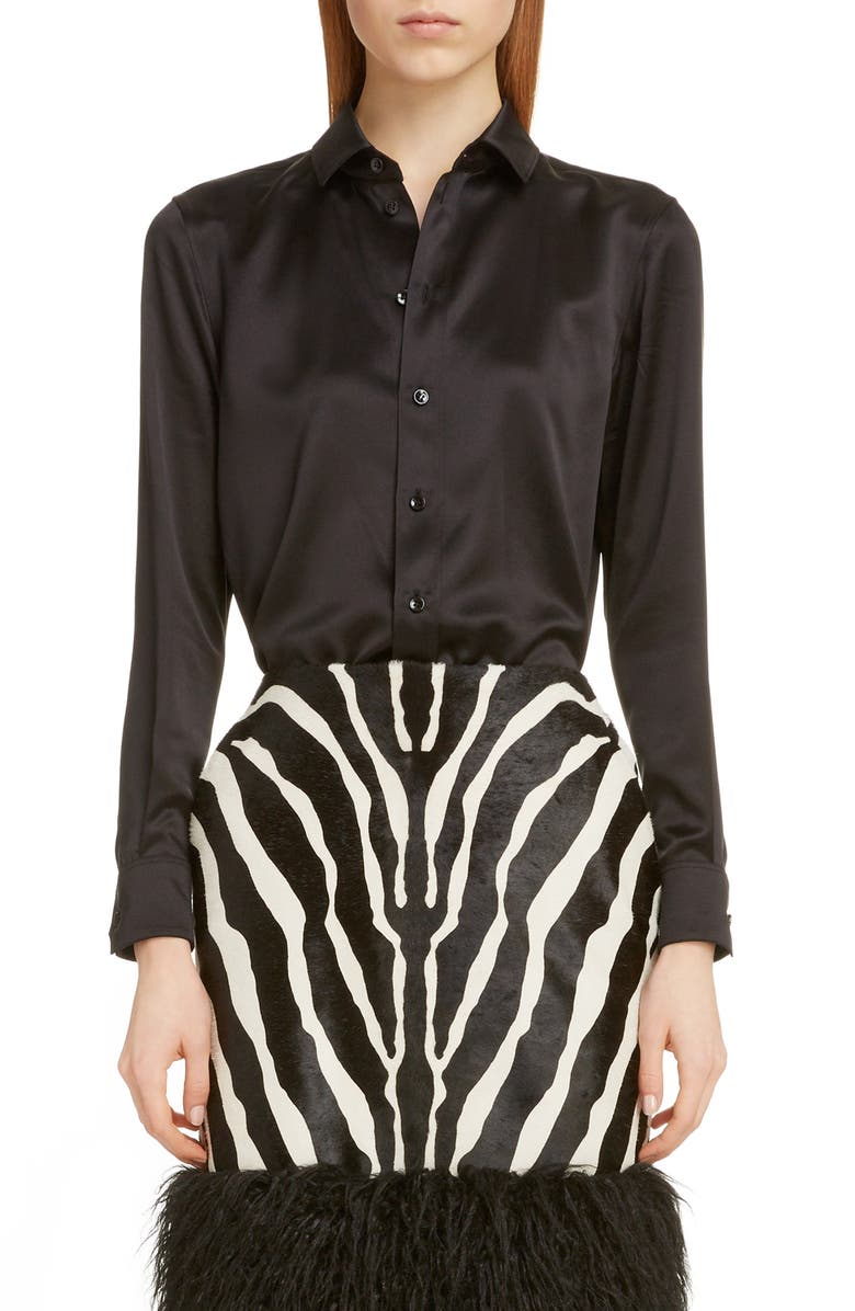 SAINT LAURENT Silk Shirt, Main, color, NOIR