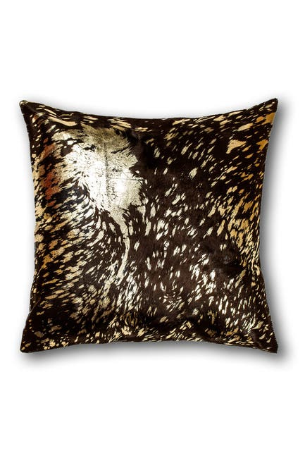 """Image of Natural Torino Genuine Cowhide Pillow - 18""""x18"""" - Chocolate/Gold"""