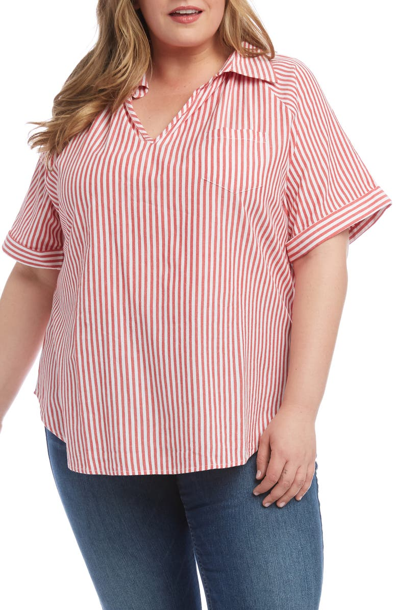 KAREN KANE Stripe Short Sleeve Top, Main, color, RED