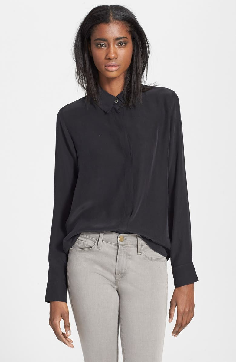 FRAME 'Le Classic' Washed Silk Charmeuse Shirt, Main, color, 001