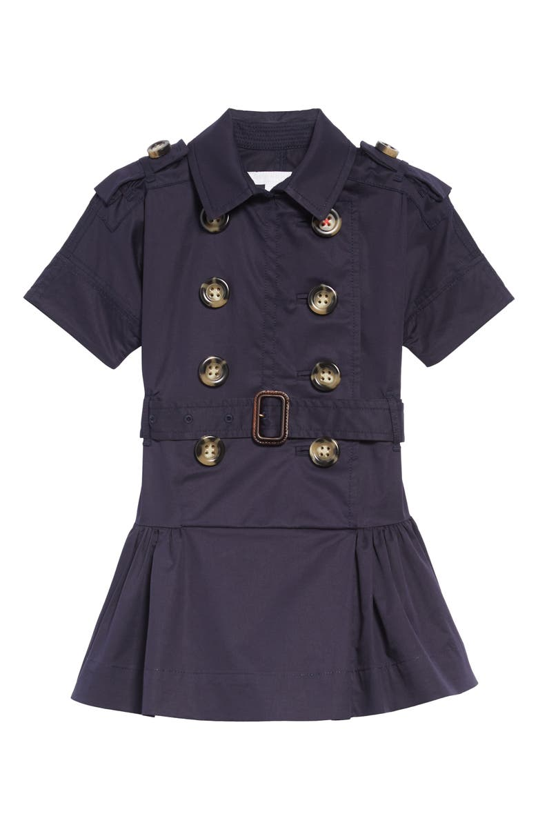 BURBERRY Cynthie Stretch Cotton Trench Dress, Main, color, MIDNIGHT