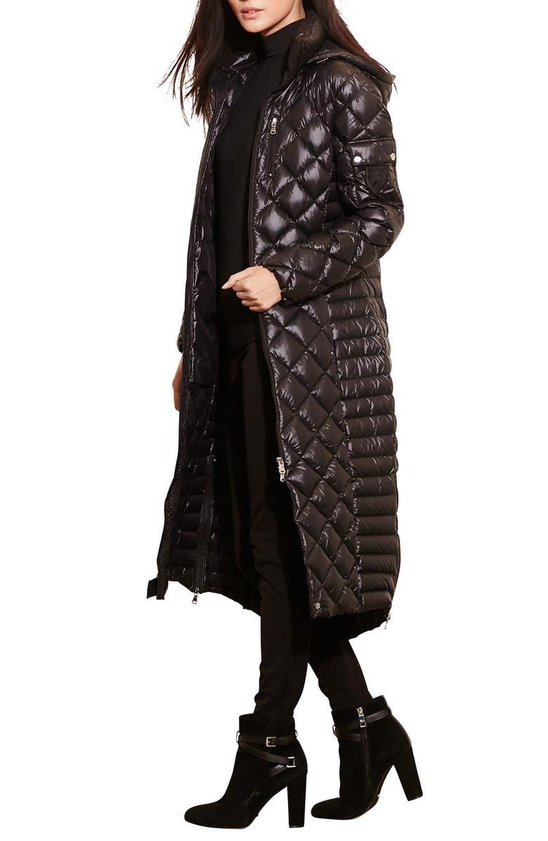 LAUREN RALPH LAUREN Quilted Down Coat, Main, color, BLACK
