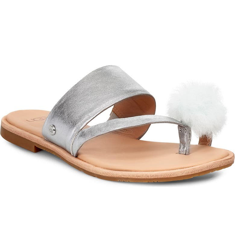UGG<SUP>®</SUP> Hadlee Genuine Shearling Pom Sandal, Main, color, SILVER LEATHER