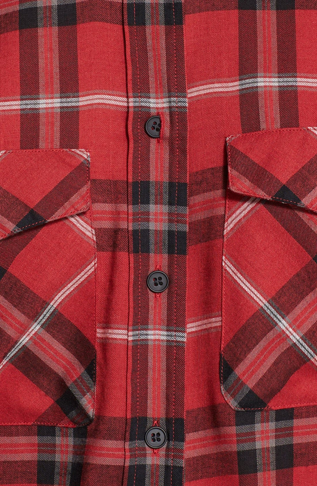 ,                             Leather Trim Plaid Long Sleeve Shirt,                             Alternate thumbnail 6, color,                             623