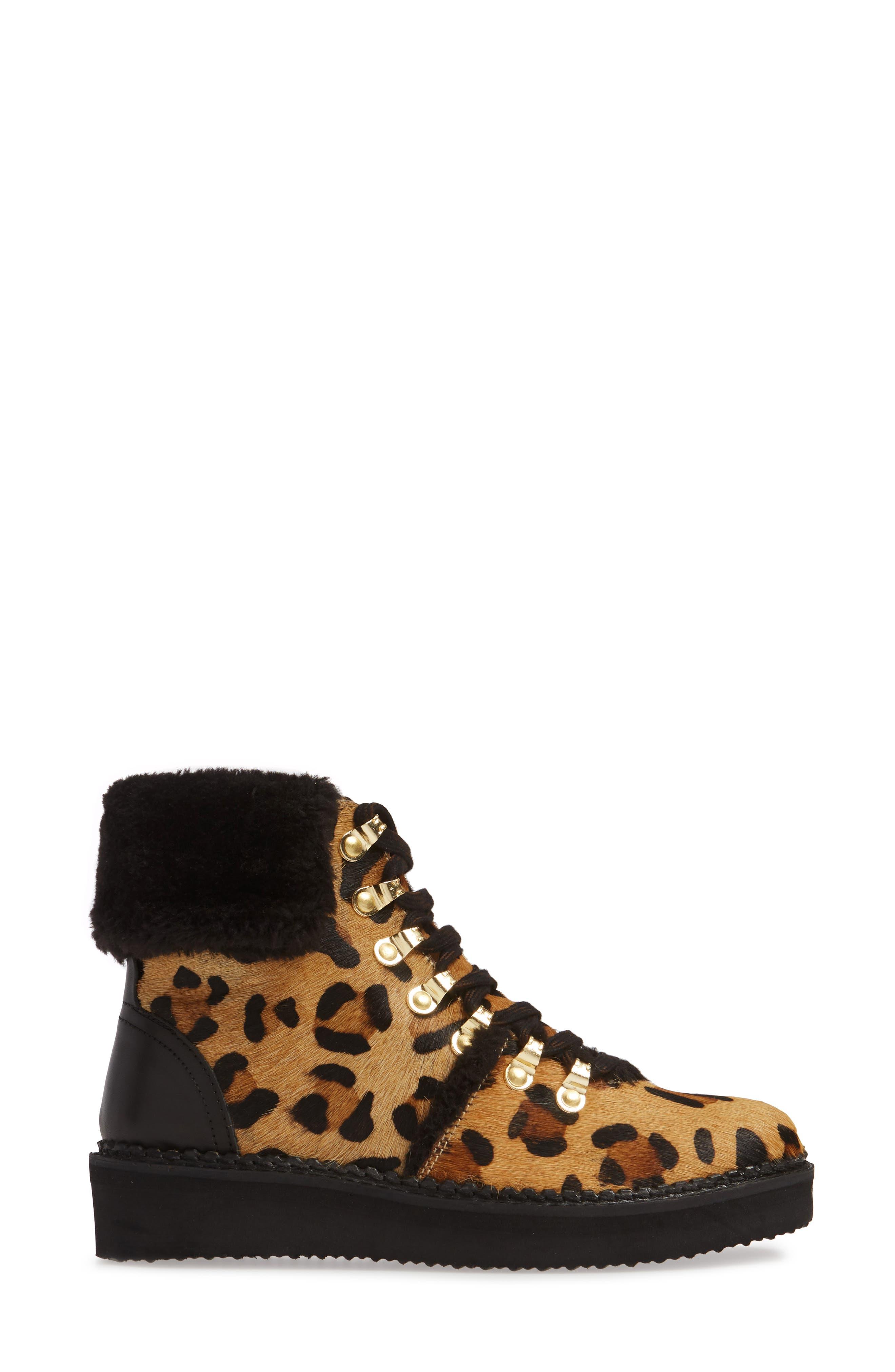 ,                             Tonkin Genuine Calf Hair Hiker Boot,                             Alternate thumbnail 3, color,                             BLACK LEOPARD LEATHER