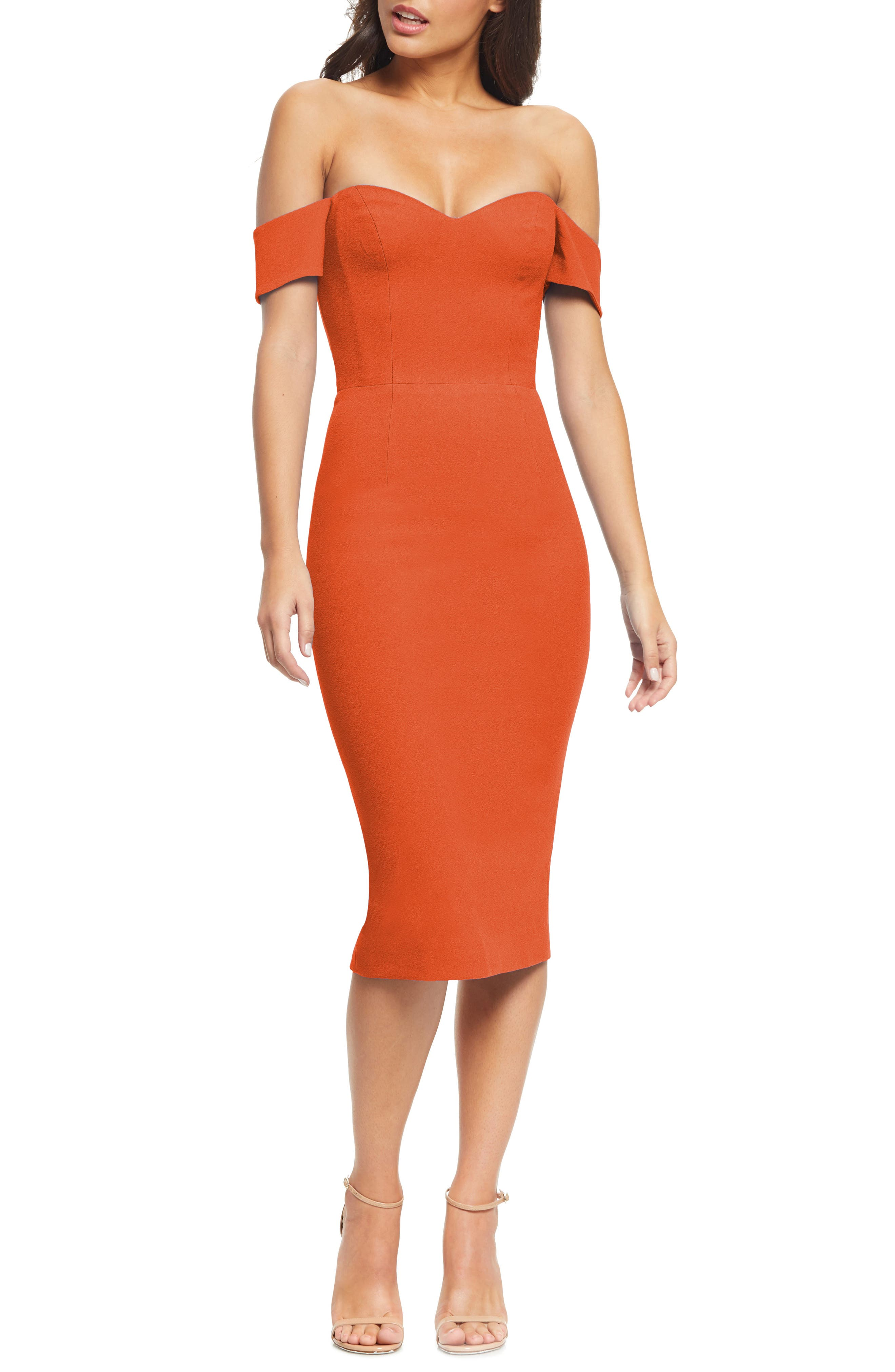 Dress The Population BAILEY OFF THE SHOULDER BODY-CON DRESS