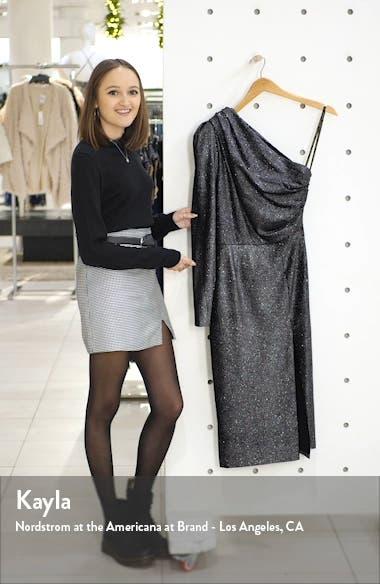 One-Shoulder Velvet Shimmer Midi Dress, sales video thumbnail