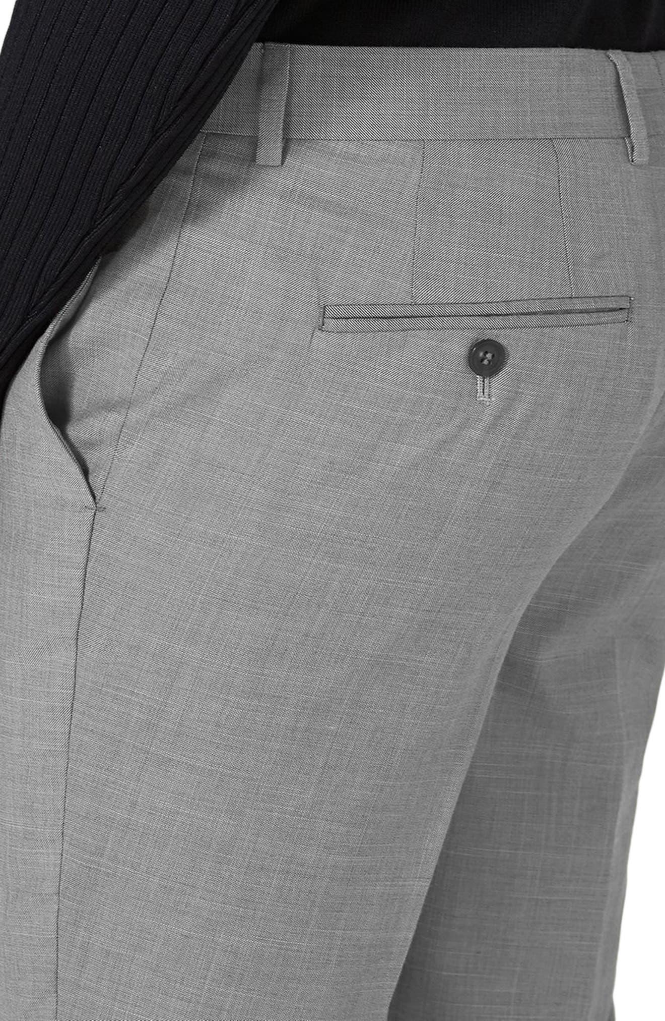 ,                             Como Skinny Fit Grey Suit Pants,                             Alternate thumbnail 4, color,                             GREY