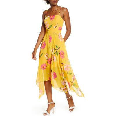 Vince Camuto Floral Chiffon Midi Sundress, Yellow