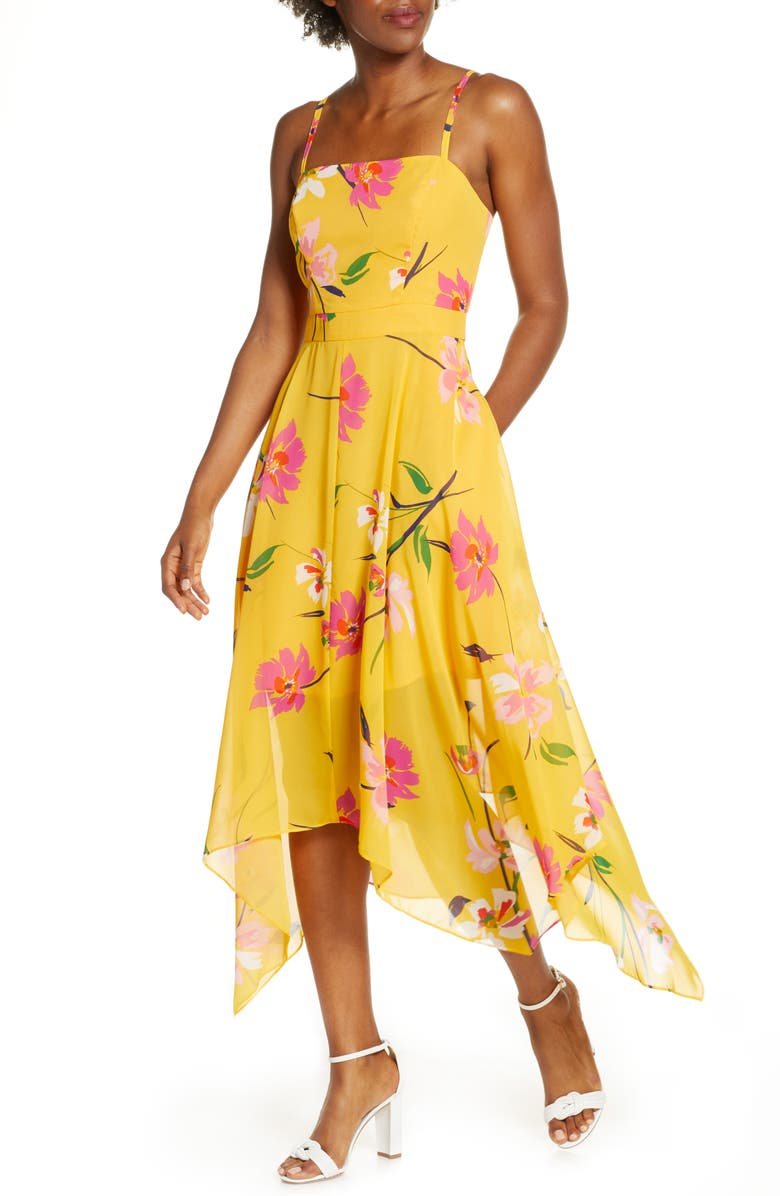 VINCE CAMUTO Floral Chiffon Midi Sundress, Main, color, 700