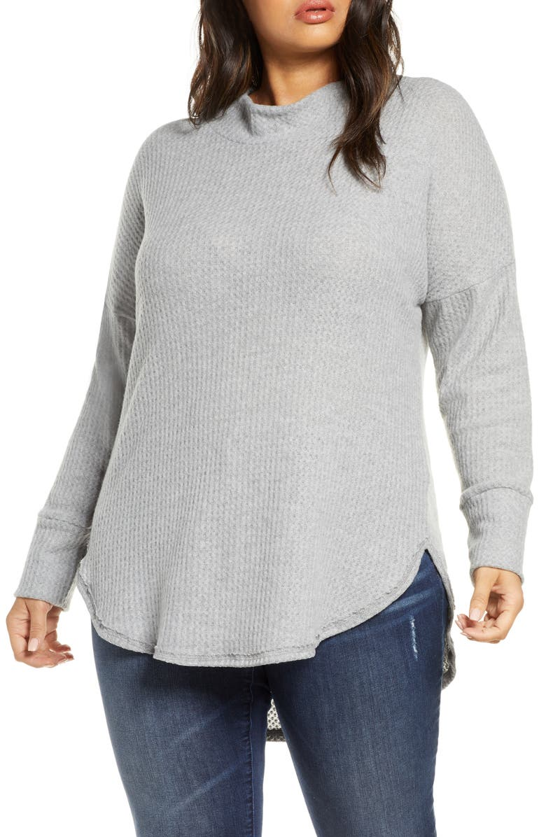 CASLON<SUP>®</SUP> Thermal Knit Tunic, Main, color, GREY HEATHER