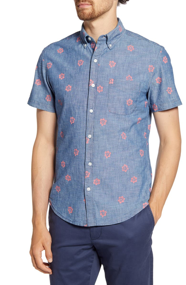 BONOBOS Slim Fit Floral Short Sleeve Button-Down Chambray Shirt, Main, color, CAMBRAY CHILL FLORAL