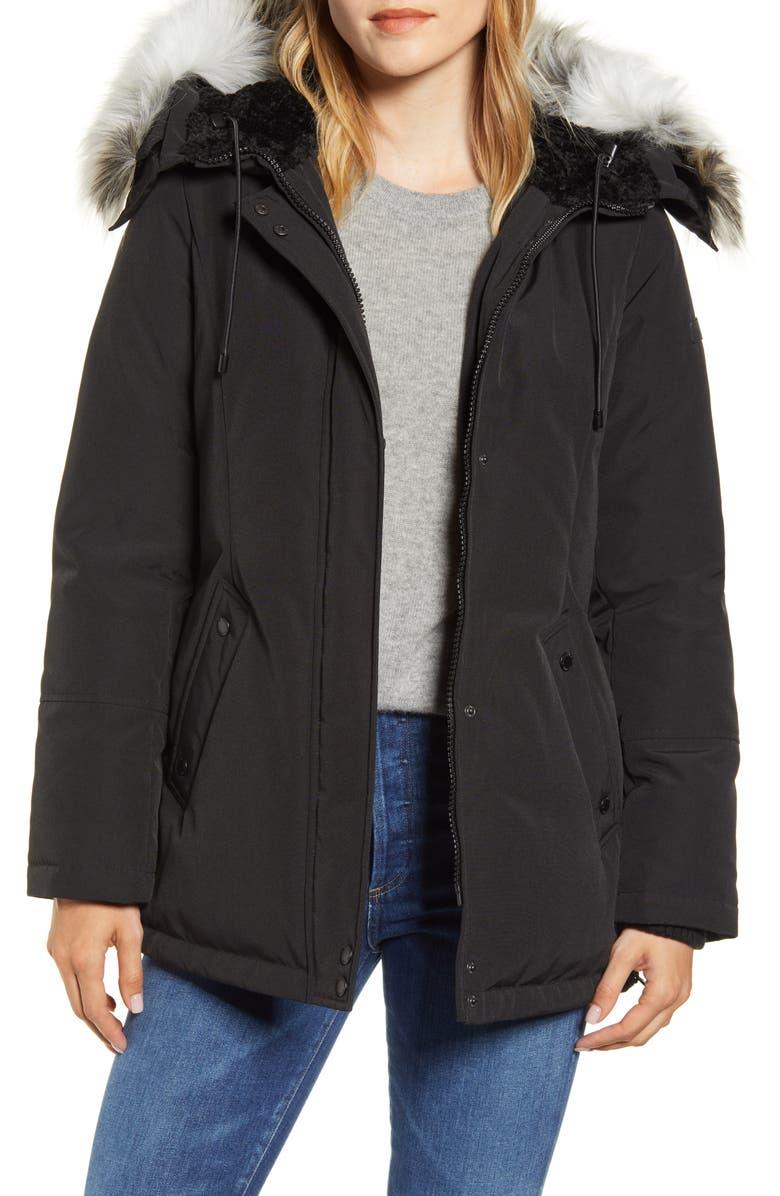 SAM EDELMAN Faux Fur Trim Short Parka, Main, color, BLACK