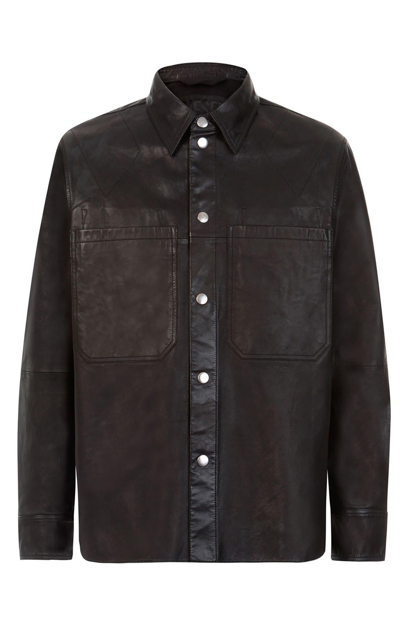 Men's Diesel L-Brown Leather Shirt Jacket